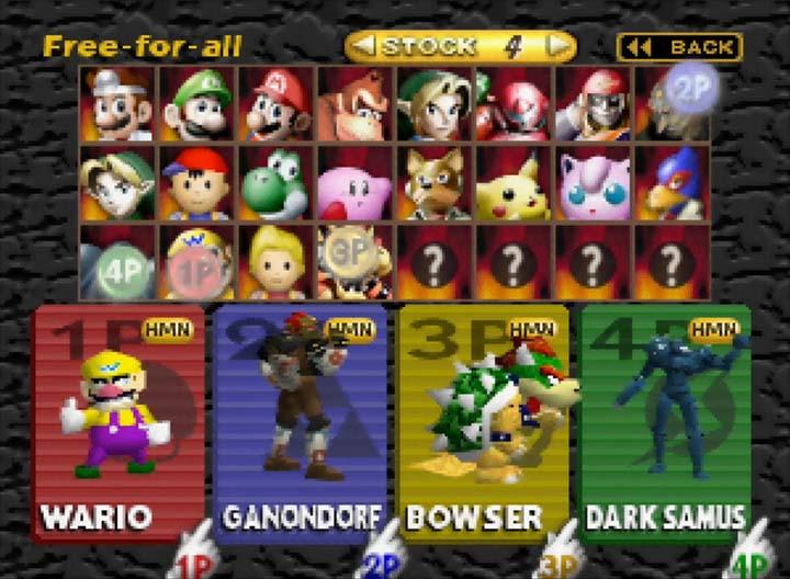 Smash Remix character select screen