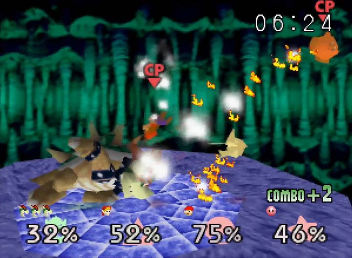 Giga Bowser launches multiple opponents with his brute strength in Smash Remix on N64.