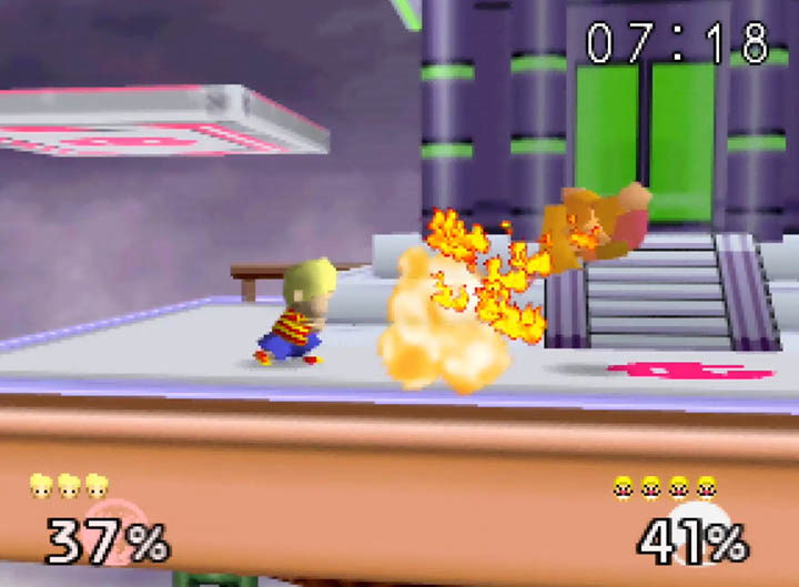 Lucas uses PK Fire on Wario in Super Smash Bros. 64