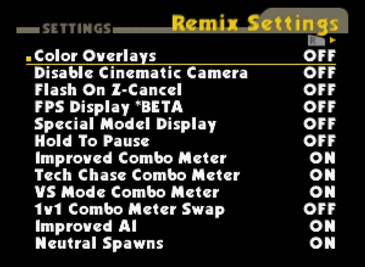 Smash Remix settings screen (version 0.9.4)