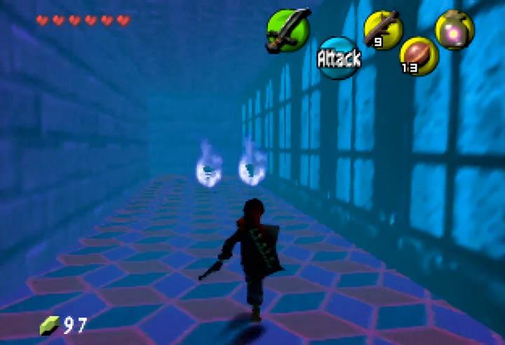 Blue-lit corridor in Dark Hyrule Fantasy
