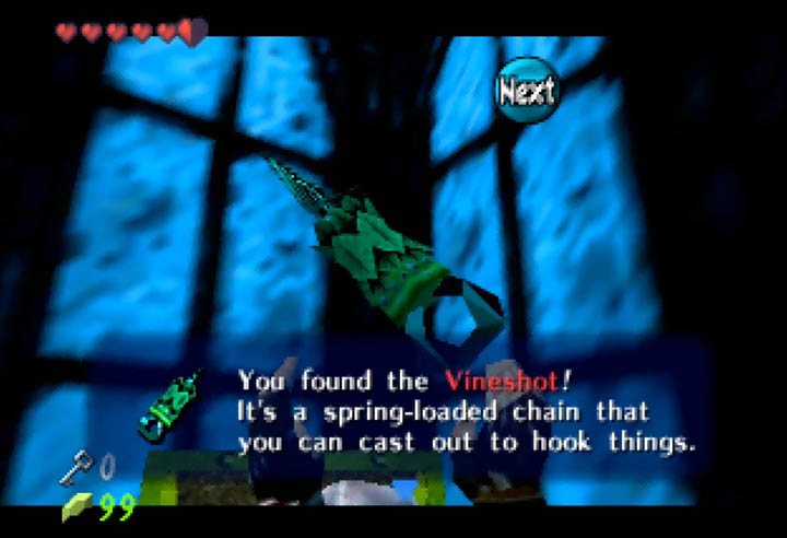The Vineshot, a re-textured hookshot from Ocarina of Time.