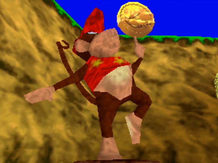 Diddy Kong statue in Banjo-Kazooie: The Jiggies of Time for N64.