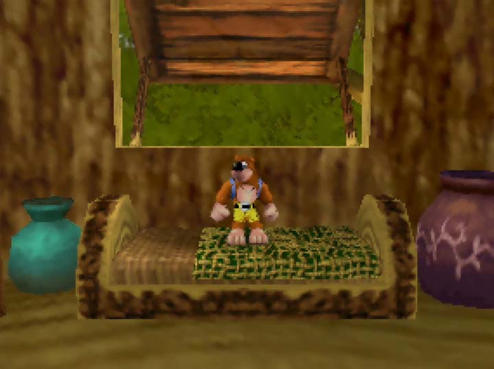 Banjo standing in Link's house in Banjo-Kazooie: The Jiggies of Time.