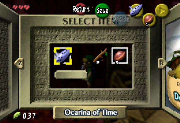 The adapted item menu screen in The Legend of Zelda: The Missing Link mod for N64.