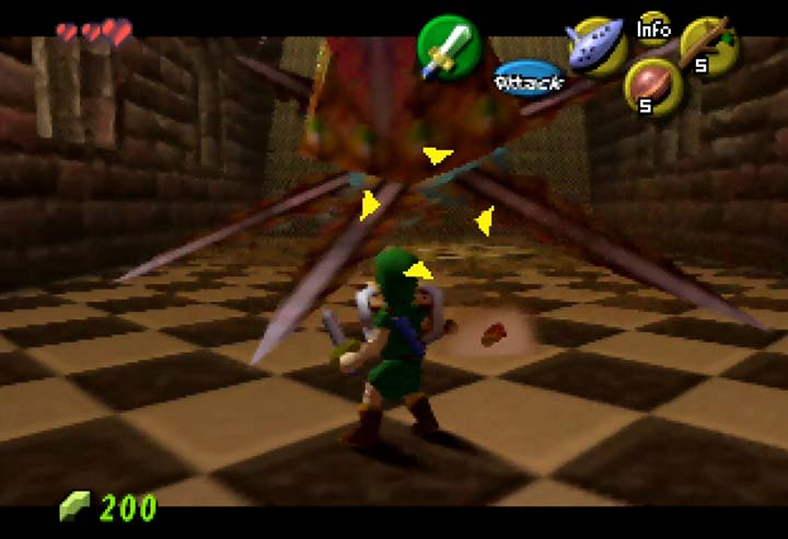Fighting a Peahat in a Legend of Zelda: Ocarina of Time mod.