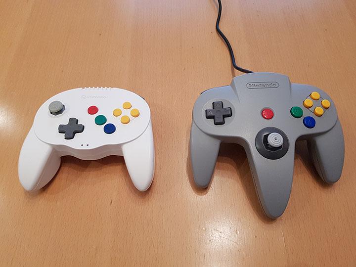 Hyperkin Admiral controller compared to Official Nintendo 64 controller