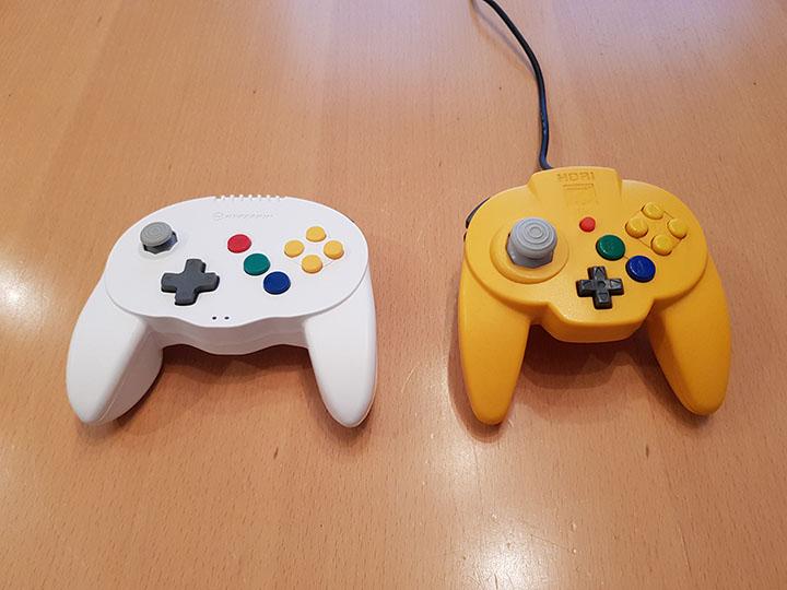 Admiral 64 wireless controller and N64 Hori Mini Pad comparison.
