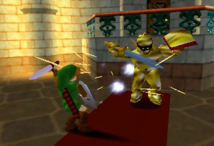 Fighting a gold-coated Darknut in the reconstructed beta of Zelda 64.