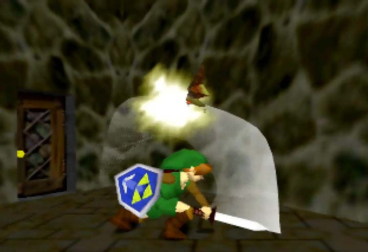 Link slices a Keese.