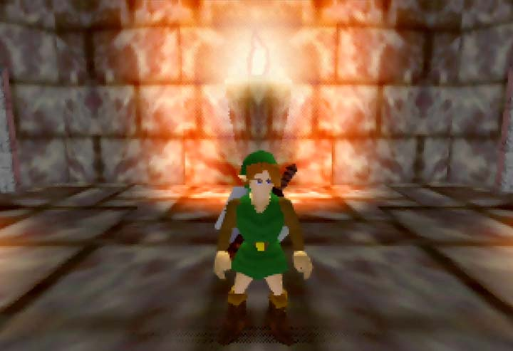 Link, in his beta form, in the Zelda 64 beta dungeon demo