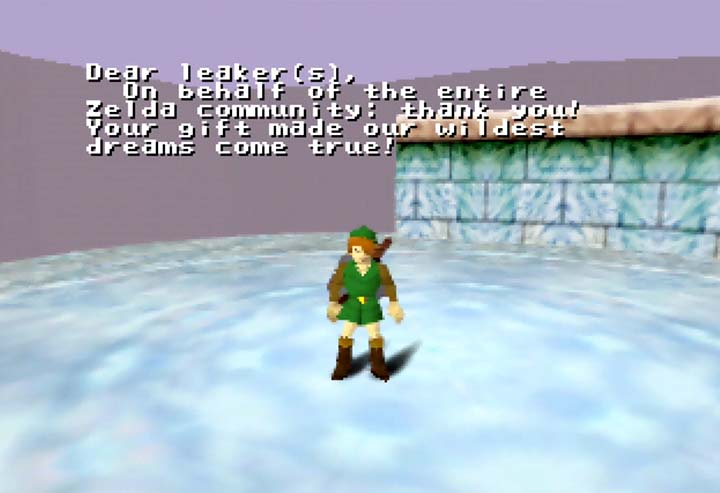 A message thanking the leaker(s) who released Zelda 64 beta files in July 2020.