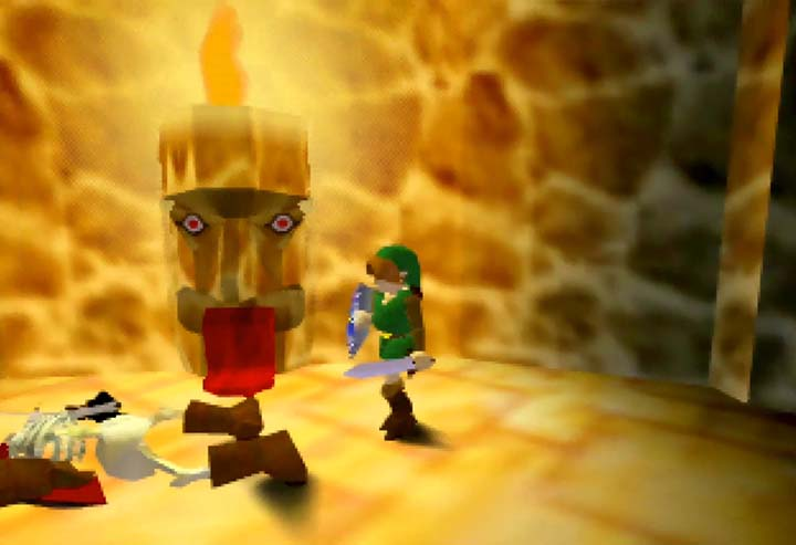 Unique statue design in prototype Zelda 64 demo on N64.
