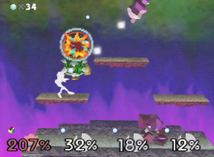 Bowser tears up the Fighting Polygon team in Smash Remix's Multi-Man Melee mode.