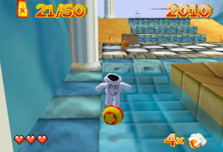 Rolling a ball over some water in Glover, one of the most creative N64 games.