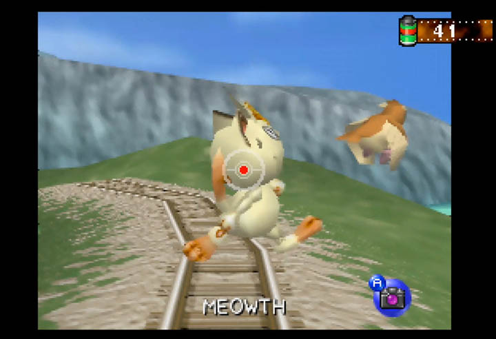 Snapping a photo of Meowth chasing a Pidgey in Pokémon Snap, one of the most creative N64 games.