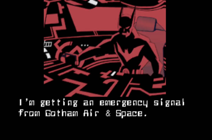 """""""I'm getting an emergency signal from Gotham Air & Space"""" animated still from Batman Beyond for N64."""