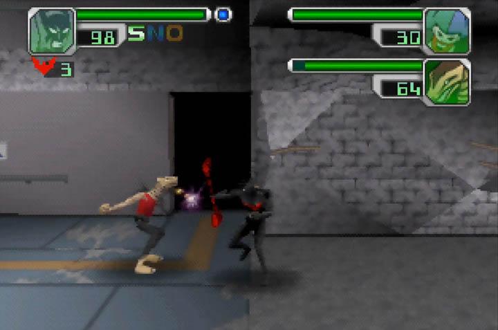 Using the Bat Staff weapon in Batman Beyond: Return of the Joker.