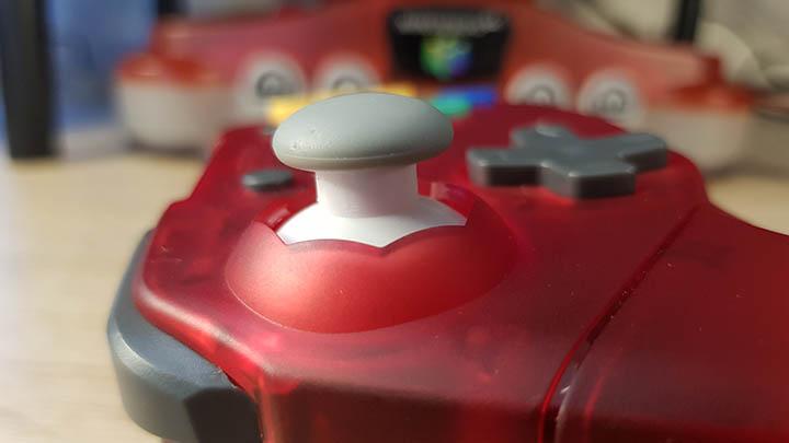 Close-up of the joystick