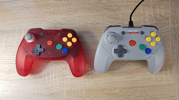 Retro Fighters Brawler 64 wireless (left) and wired (right) controllers