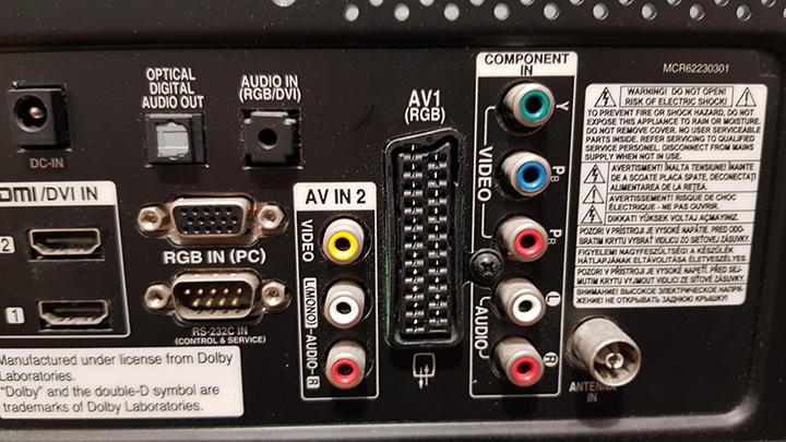 AV connections on a modern HDTV.