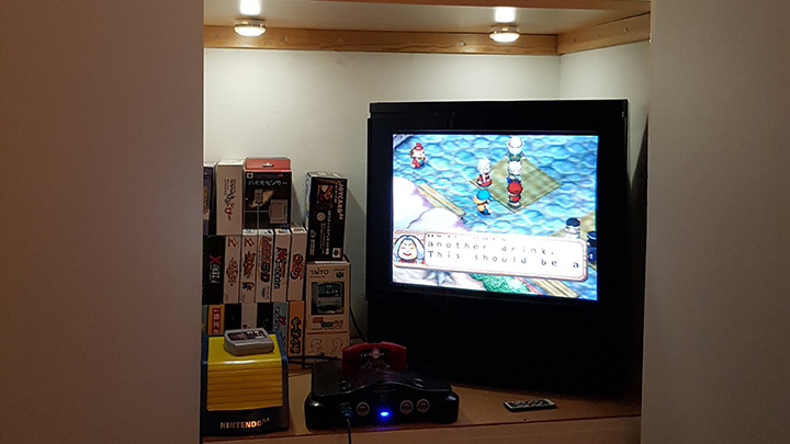 An N64 hooked up to a CRT TV.