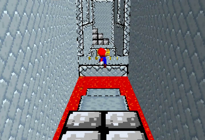 Bowser's Castle - 8-bit pipe level in Return to Yoshi's Island 64