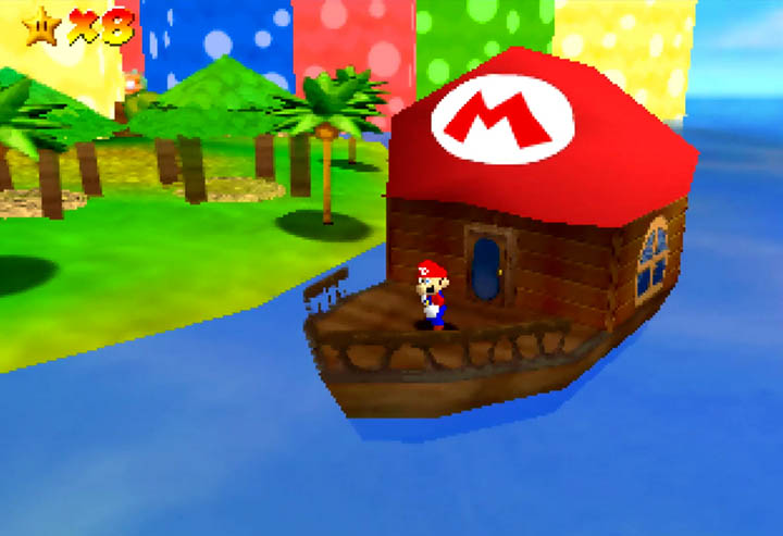 Mario's boat, as seen in Super Mario 64 mod, Return to Yoshi's Island 64.