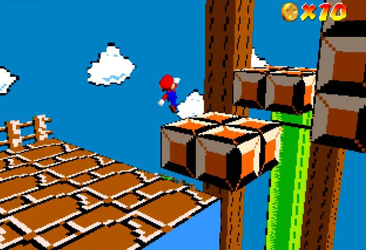 Super Mario Bros. level 1-1 recreated in Return to Yoshi's Island 64.