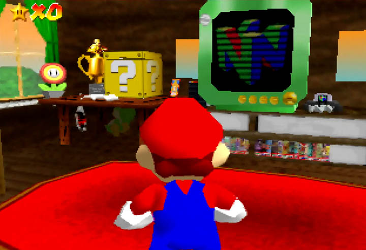 Mario's house, which happens to be full of collectibles, in Return to Yoshi's Island 64.