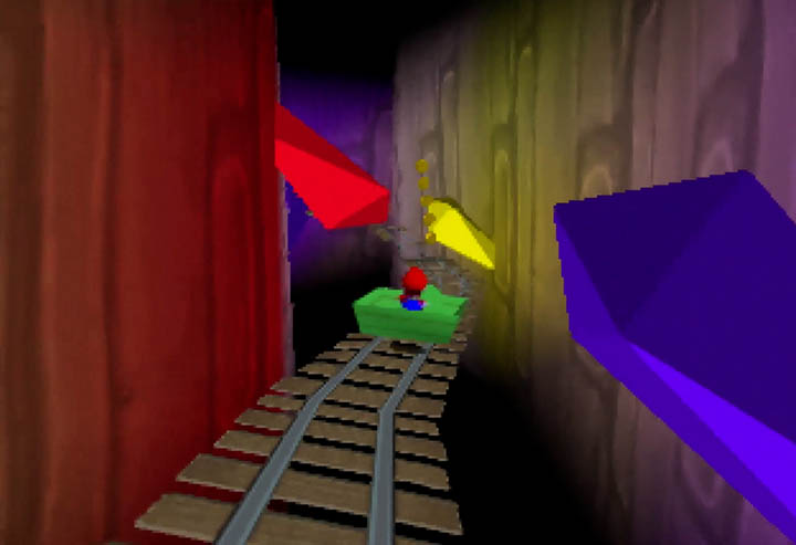 Travelling by minecart in Return to Yoshi's Island 64.